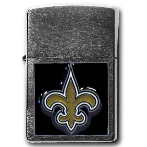 Large Emblem NFL Zippo - New Orleans Saints - Show off your team spirit with our new larger-emblem Zippo Lighters. All of our emblems are made from expertly crafted, three-dimensional pewter. Check out our wide selection of  Zippo Lighters! Officially licensed NFL product Licensee: Siskiyou Buckle .com