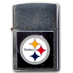 Large Emblem NFL Zippo - Pittsburgh Steelers - Show off your team spirit with our new larger-emblem Zippo Lighters. All of our emblems are made from expertly crafted, three-dimensional pewter. Check out our wide selection of  Zippo Lighters! Officially licensed NFL product Licensee: Siskiyou Buckle .com