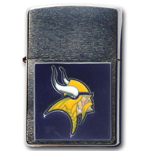 Large Emblem NFL Zippo - Minnesota Vikings - Show off your team spirit with our new larger-emblem Zippo Lighters. All of our emblems are made from expertly crafted, three-dimensional pewter. Check out our wide selection of  Zippo Lighters! Officially licensed NFL product Licensee: Siskiyou Buckle .com