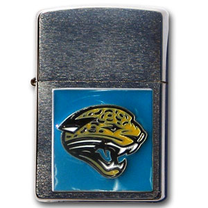 Large Emblem NFL Zippo - Jacksonville Jaguars - Show off your team spirit with our new larger-emblem Zippo Lighters. All of our emblems are made from expertly crafted, three-dimensional pewter. Check out our wide selection of  Zippo Lighters! Officially licensed NFL product Licensee: Siskiyou Buckle Thank you for visiting CrazedOutSports.com