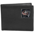 Columbus Blue Jackets® Leather Bi-fold Wallet Packaged in Gift Box