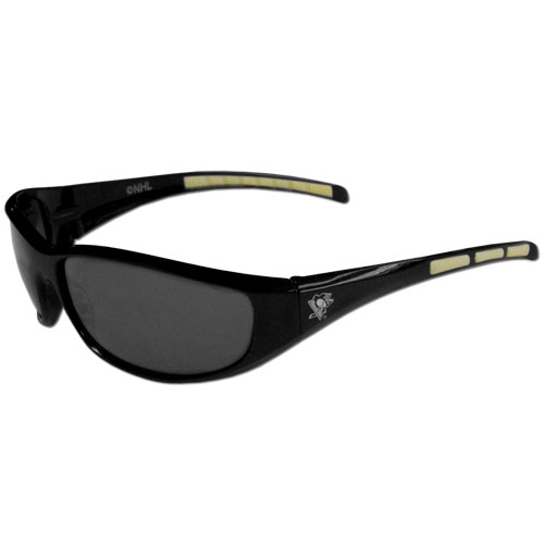 Pittsburgh Penguins Wrap Sunglasses - These Pittsburgh Penguins Wrap Sunglasses have the Pittsburgh Penguins name screen printed on one side of the frames and the Pittsburgh Penguins logo on the other side of the frames. The Pittsburgh Penguins Wrap Sunglass arms feature rubber Pittsburgh Penguins colored accents. Maximum UVA/UVB protection. Thank you for visiting CrazedOutSports