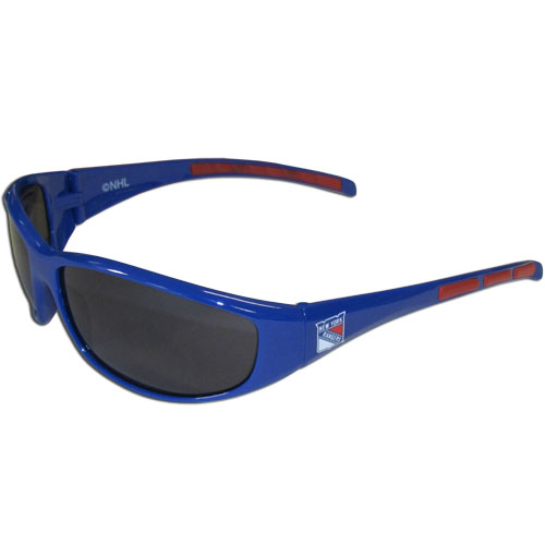 New York Rangers Wrap Sunglasses - These New York Rangers Wrap Sunglasses have the New York Rangers name screen printed on one side of the frames and the New York Rangers logo on the other side of the frames. The New York Rangers Wrap Sunglass arms feature rubber New York Rangers colored accents. Maximum UVA/UVB protection. Thank you for visiting CrazedOutSports