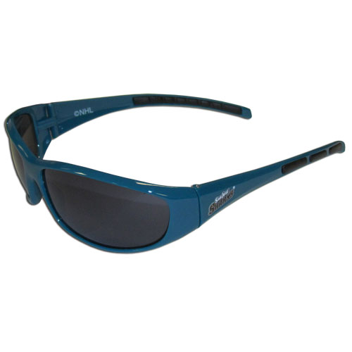 San Jose Sharks Wrap Sunglasses - These San Jose Sharks Wrap Sunglasses have the San Jose Sharks name screen printed on one side of the frames and the San Jose Sharks logo on the other side of the frames. The San Jose Sharks Wrap Sunglass arms feature rubber San Jose Sharks colored accents. Maximum UVA/UVB protection.