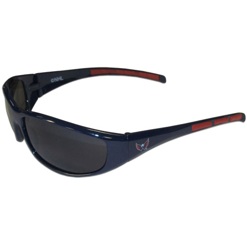Washington Capitals Wrap Sunglasses - These Washington Capitals Wrap Sunglasses have the Washington Capitals logo screen printed on one side of the frames and the Washington Capitals logo on the other side of the frames. The Washington Capitals Wrap Sunglass arms feature rubber Washington Capitals colored accents. Maximum UVA/UVB protection. Thank you for visiting CrazedOutSports