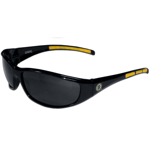 Boston Bruins Wrap Sunglasses - These Boston Bruins Wrap Sunglasses have the Boston Bruins logo screen printed on one side of the frames and the Boston Bruins logo on the other side of the frames. The Boston Bruins Wrap Sunglass arms feature rubber Boston Bruins colored accents. Maximum UVA/UVB protection. Thank you for visiting CrazedOutSports