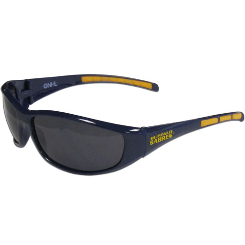Buffalo Sabres Wrap Sunglasses - These Buffalo Sabres Wrap Sunglasses have the Buffalo Sabres logo screen printed on one side of the frames and the Buffalo Sabres logo on the other side of the frames. The Buffalo Sabres Wrap Sunglass arms feature rubber Buffalo Sabres colored accents. Great for a Buffalo Sabres hockey fan. Maximum UVA/UVB protection.
