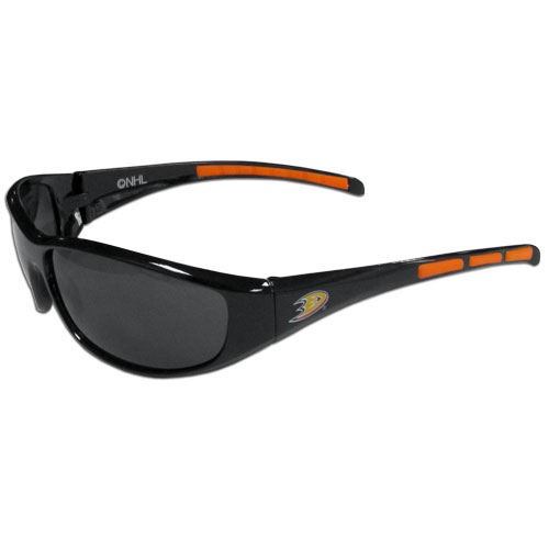 Anaheim Ducks Wrap Sunglasses - These Anaheim Ducks Wrap Sunglasses have the Anaheim Ducks logo screen printed on one side of the frames and the Anaheim Ducks logo on the other side of the frames. The Anaheim Ducks Wrap Sunglass arms feature rubber Anaheim Ducks colored accents. Maximum UVA/UVB protection. Thank you for visiting CrazedOutSports