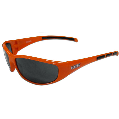 Philadelphia Flyers Wrap Sunglasses - These Philadelphia Flyers Wrap Sunglasses have the Philadelphia Flyers name screen printed on one side of the frames and the Philadelphia Flyers logo on the other side of the frames. The Philadelphia Flyers wrap sunglass arms feature rubber Philadelphia Flyers colored accents. Maximum UVA/UVB protection.