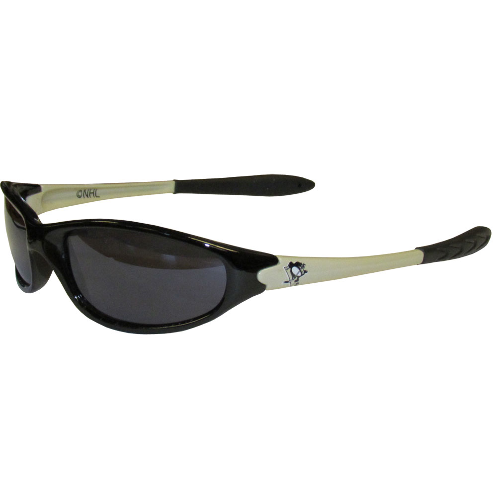 Pittsburgh Penguins Sunglasses - Our NHL team sunglasses are the team logo screen printed on one side of the frames and the team logo on the other side of the frames. The sunglass arms feature rubber team colored accents. 100% UVA/UV protection. Thank you for visiting CrazedOutSports