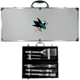 San Jose Sharks® 8 pc Stainless Steel BBQ Set w/Metal Case