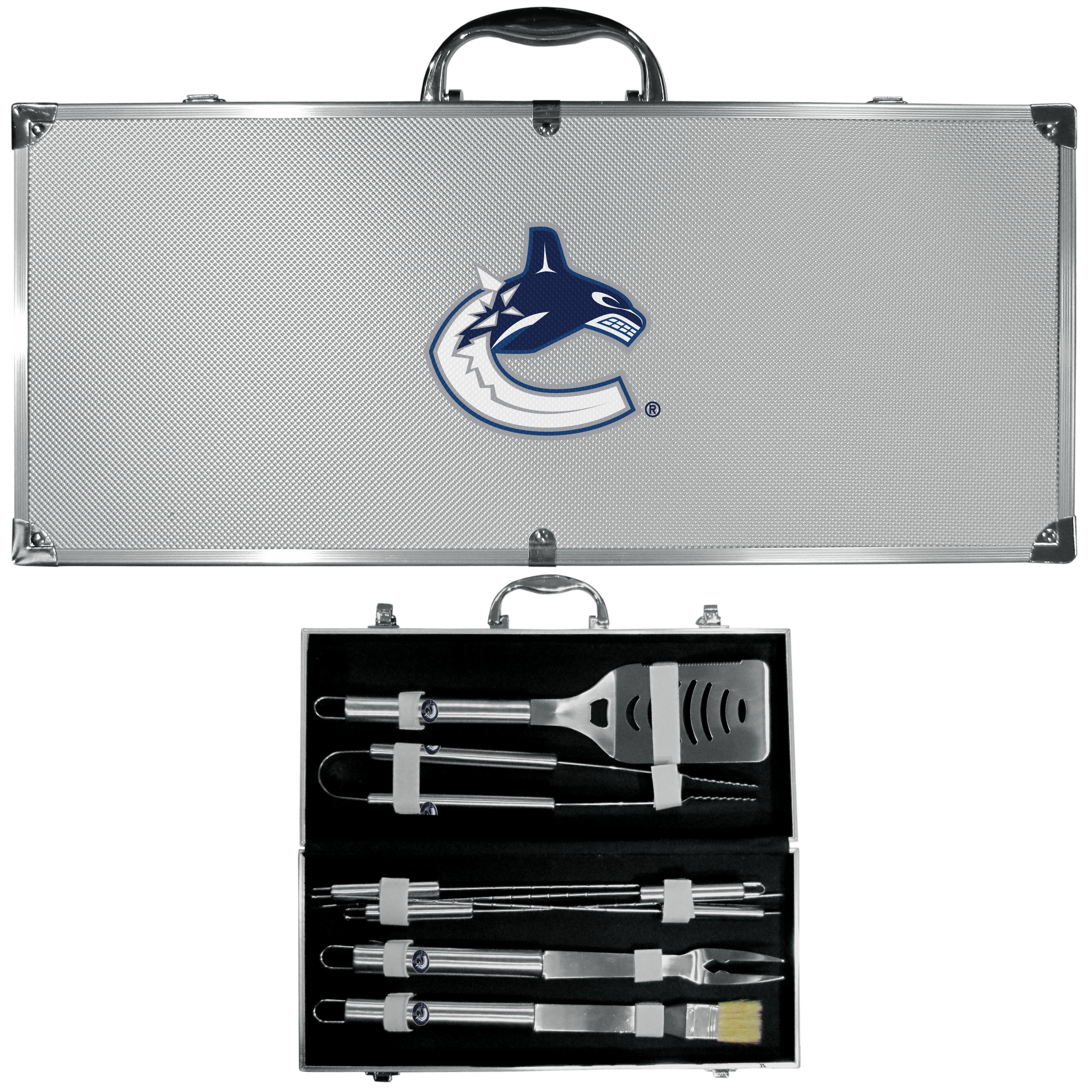 Vancouver Canucks 8 pc Stainless Steel BBQ Set w/Metal Case - This is the ultimate Vancouver Canucks tailgate accessory! The high quality, 420 grade stainless steel tools are durable and well-made enough to make even the pickiest grill master smile. This complete grill accessory kit includes; 4 skewers, spatula with bottle opener and serrated knife edge, basting brush, tongs and a fork. The 18 inch metal carrying case makes this a great outdoor kit making grilling an ease while camping, tailgating or while having a game day party on your patio. The tools are 17 inches long and feature a metal team emblem. The metal case features a large, metal team emblem with exceptional detail. This high-end men's gift is sure to be a hit as a present on Father's Day or Christmas.