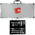 Calgary Flames® 8 pc Stainless Steel BBQ Set w/Metal Case