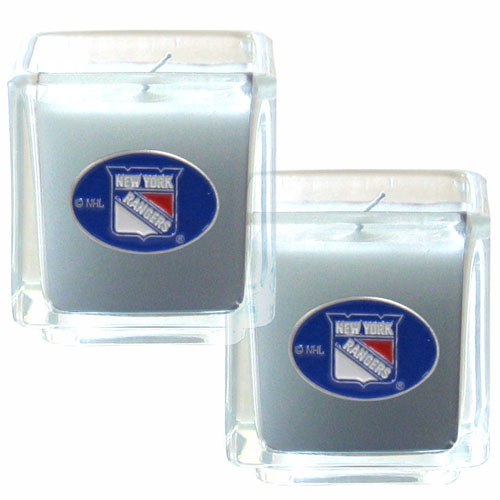"NHL Candle Set - New York Rangers - The NHL New York Rangers Candle Set includes two 2"" x 2"" vanilla scented candles featuring a metal square with a hand enameled New York Rangers emblem. Check out our extensive line of New York Rangers NHL merchandise! Thank you for visiting CrazedOutSports"