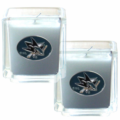 "NHL Candle Set - San Jose Sharks - The NHL San Jose Sharks Candle Set includes two 2"" x 2"" vanilla scented candles featuring a metal square with a hand enameled San Jose Sharks emblem. Check out our extensive line of San Jose Sharks NHL merchandise!"