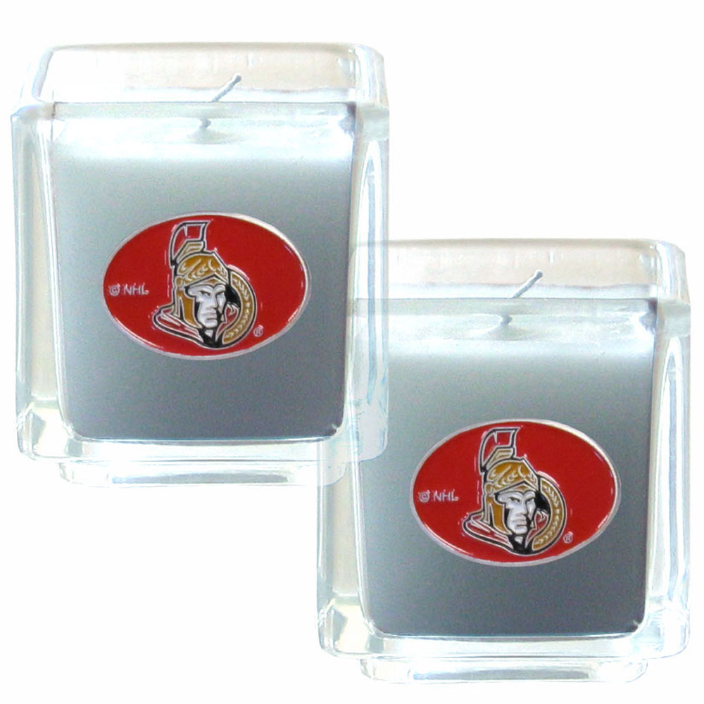 Ottawa Senators® Scented Candle Set - Our candle set features 2 lightly vanilla scented candles with fully cast metal Ottawa Senators® emblems that have an enameled team color finish.