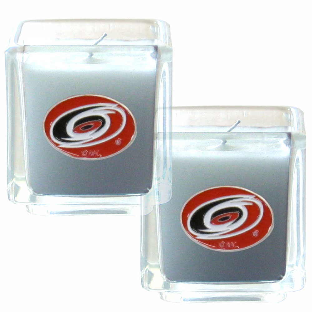 Carolina Hurricanes® Scented Candle Set - Our candle set features 2 lightly vanilla scented candles with fully cast metal Carolina Hurricanes® emblems that have an enameled team color finish.
