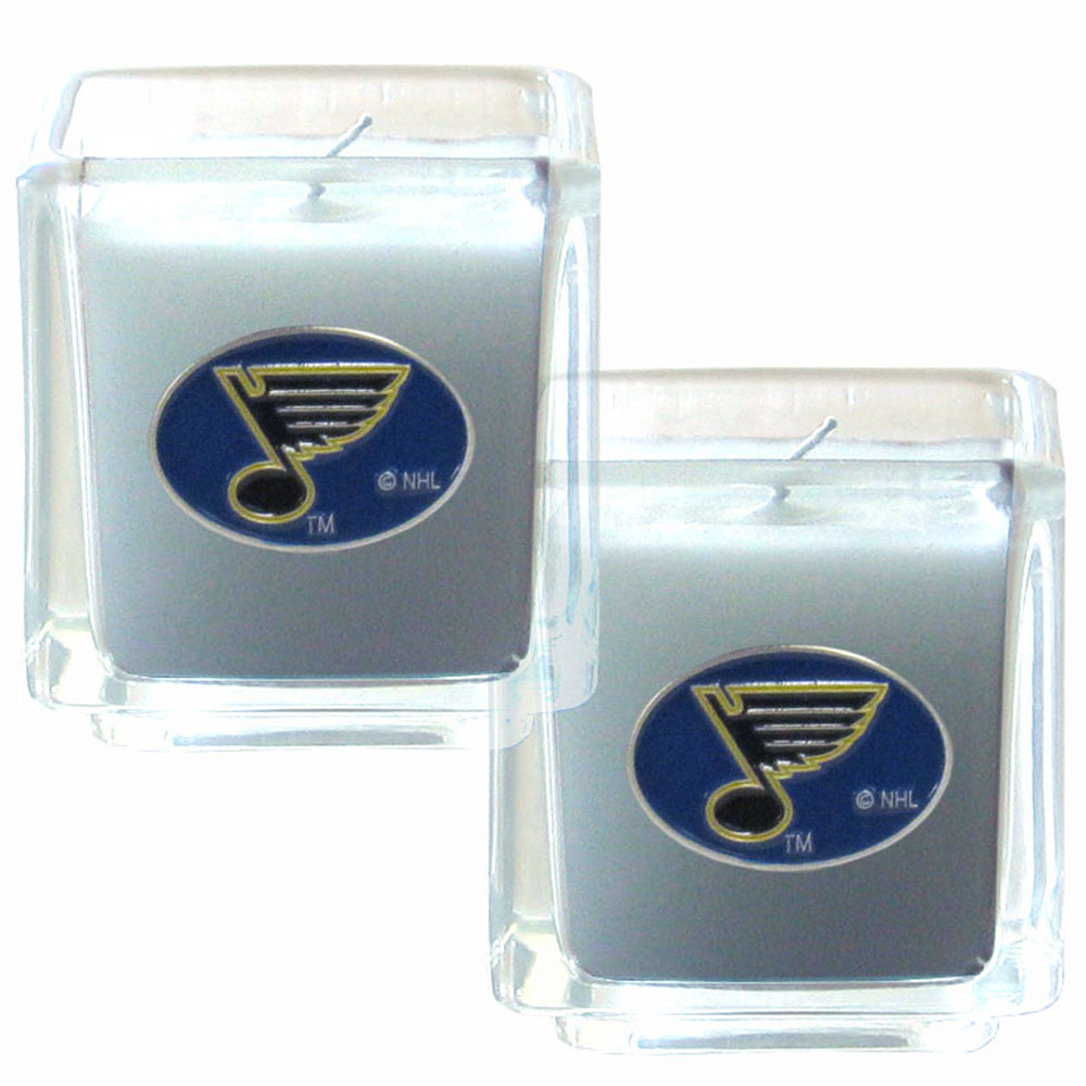 St. Louis Blues® Scented Candle Set - Our candle set features 2 lightly vanilla scented candles with fully cast metal St. Louis Blues® emblems that have an enameled team color finish.