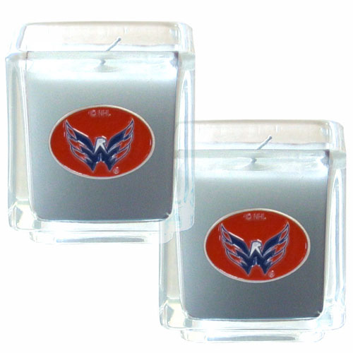 "Washington Capitals NHL Candle Set - The NHL Washington Capitals Candle Set includes two 2"" x 2"" vanilla scented candles featuring a hand enameled Washington Capitals metal emblem. Thank you for visiting CrazedOutSports"