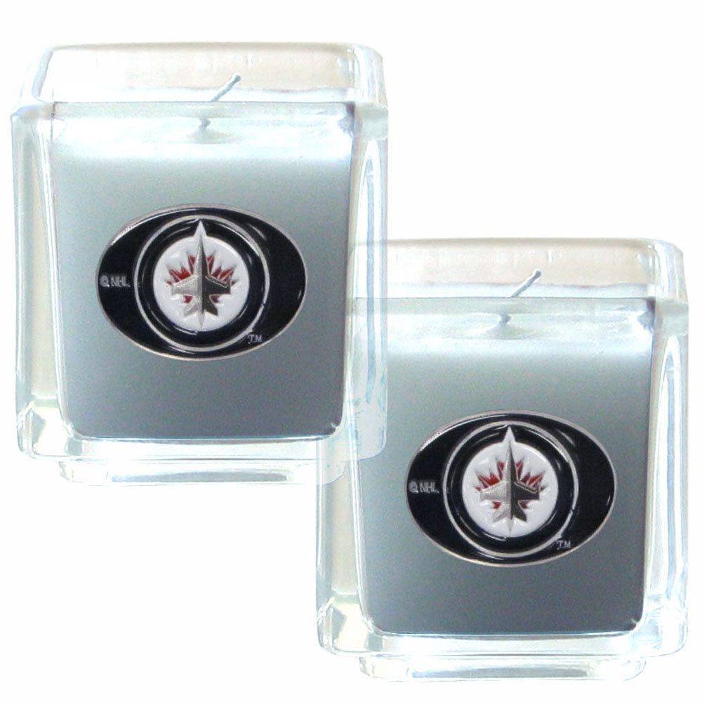 Winnipeg Jets™ Scented Candle Set - Our candle set features 2 lightly vanilla scented candles with fully cast metal Winnipeg Jets™ emblems that have an enameled team color finish.