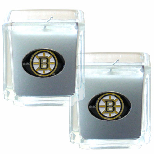"Boston Bruins NHL Candle Set - The NHL Boston Bruins Candle Set includes two 2"" x 2"" vanilla scented candles featuring a hand enameled Boston Bruins emblem. Thank you for visiting CrazedOutSports"