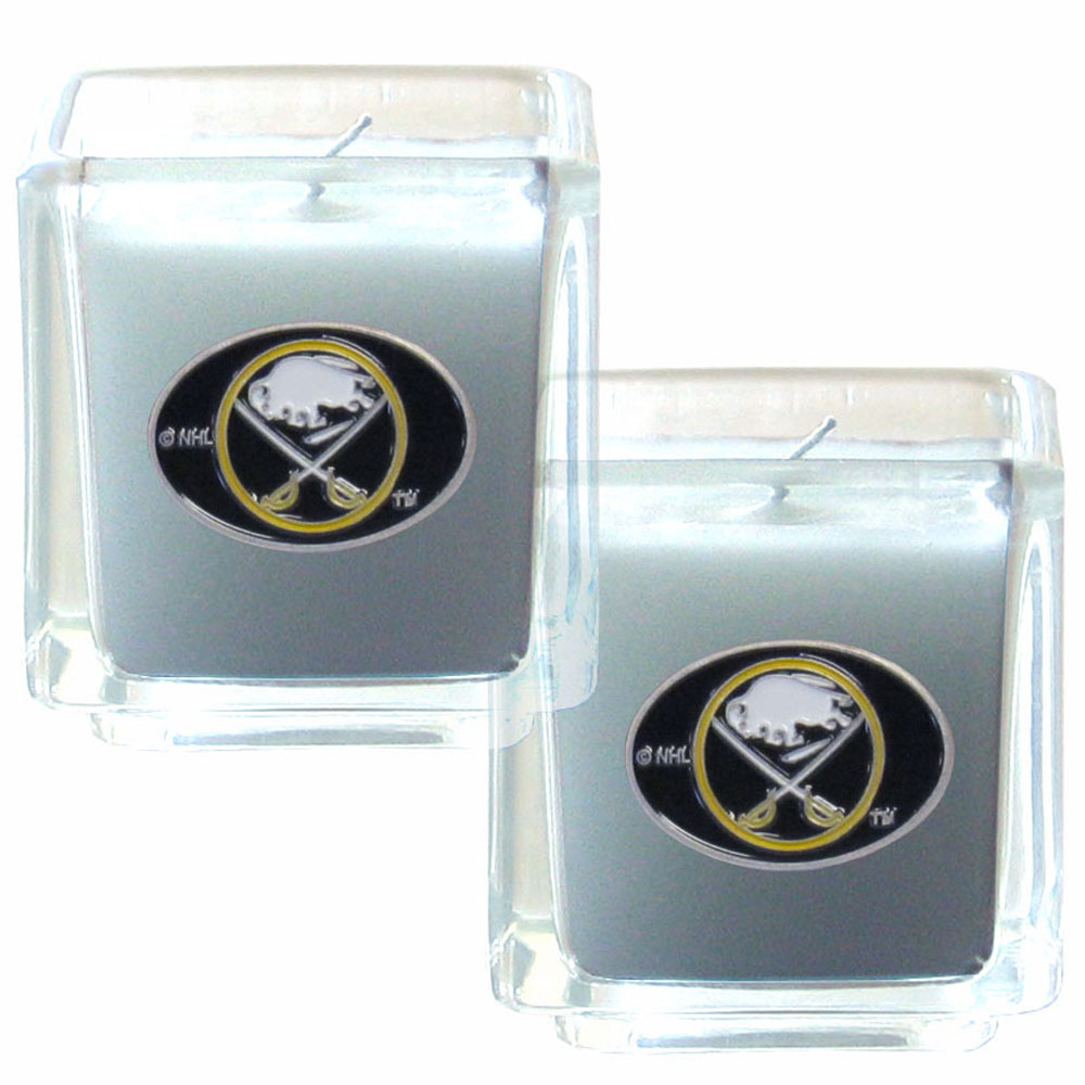 Buffalo Sabres® Scented Candle Set - Our candle set features 2 lightly vanilla scented candles with fully cast metal Buffalo Sabres® emblems that have an enameled team color finish.