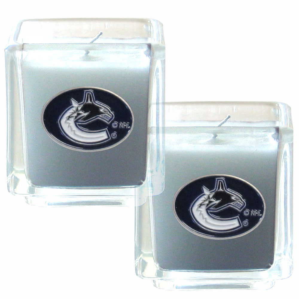 Vancouver Canucks® Scented Candle Set - Our candle set features 2 lightly vanilla scented candles with fully cast metal Vancouver Canucks® emblems that have an enameled team color finish.