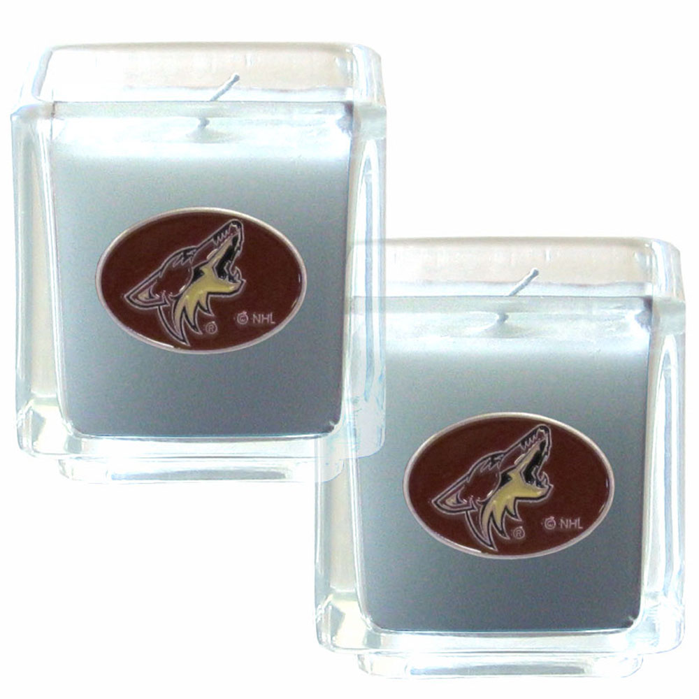 Arizona Coyotes® Scented Candle Set - Our candle set features 2 lightly vanilla scented candles with fully cast metal Arizona Coyotes® emblems that have an enameled team color finish.