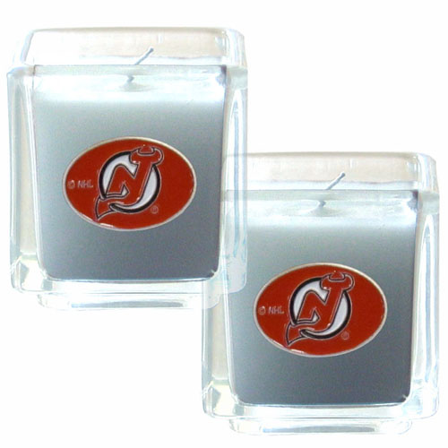"NHL Candle Set - New Jersey Devils - The NHL New Jersey Devils Candle Set includes two 2"" x 2"" vanilla scented candles featuring a metal square with a hand enameled New Jersey Devils emblem. Check out our extensive line of New Jersey Devils NHL merchandise!"