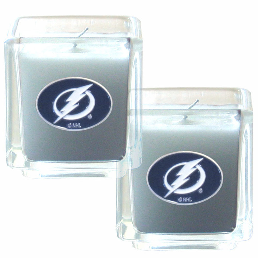 Tampa Bay Lightning® Scented Candle Set - Our candle set features 2 lightly vanilla scented candles with fully cast metal Tampa Bay Lightning® emblems that have an enameled team color finish.