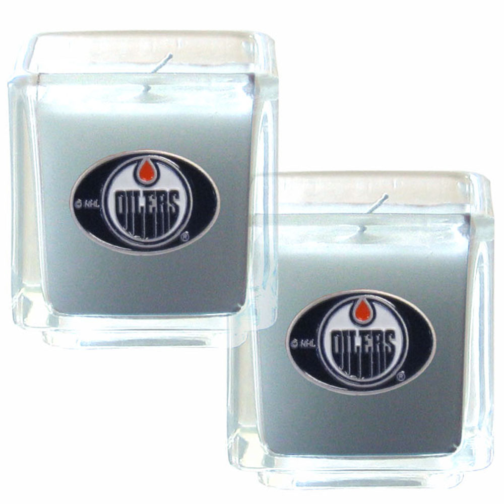 Edmonton Oilers® Scented Candle Set - Our candle set features 2 lightly vanilla scented candles with fully cast metal Edmonton Oilers® emblems that have an enameled team color finish.