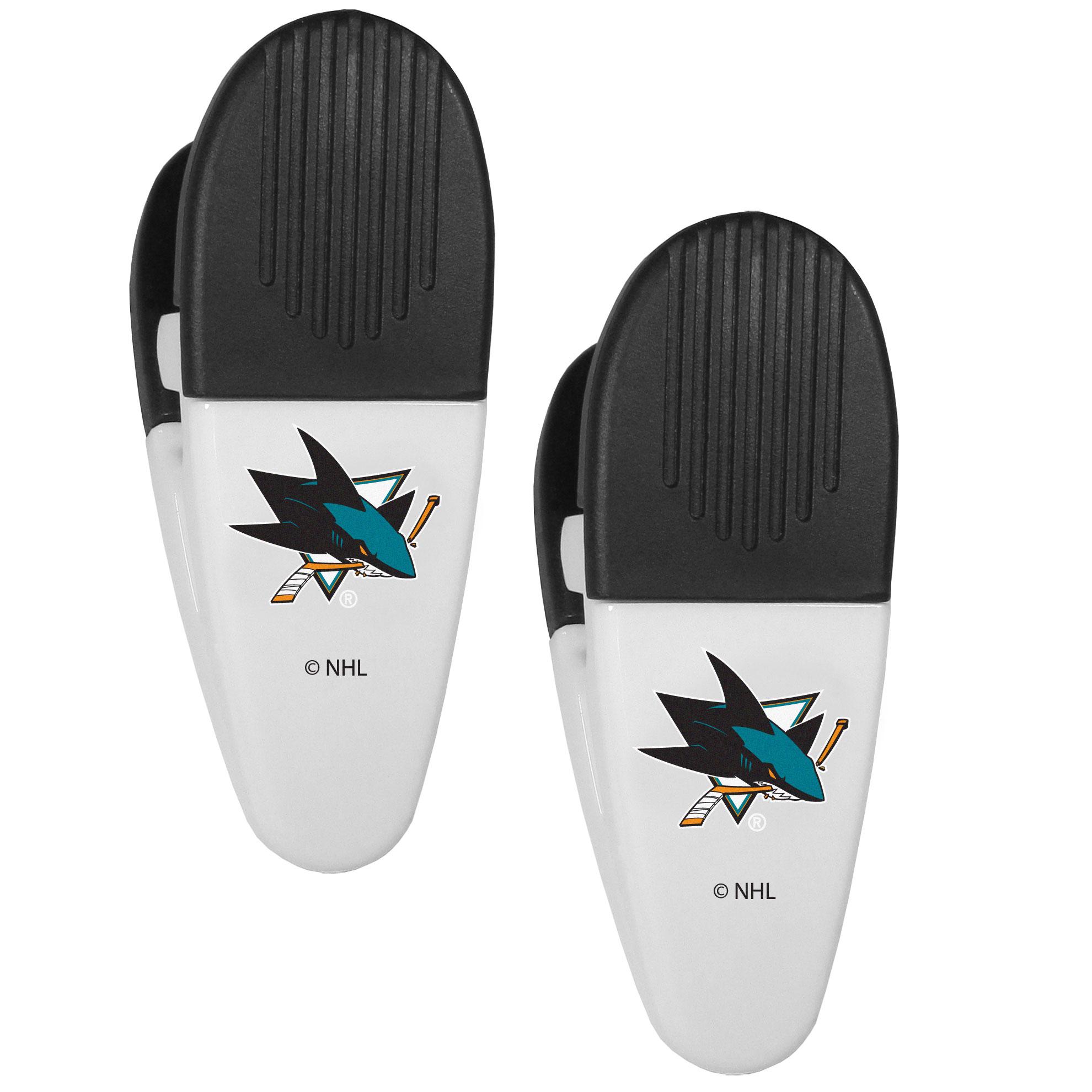 San Jose Sharks Mini Chip Clip Magnets, 2 pk - Our San Jose Sharks chip clip magnets feature a crisp team logo on the front of the clip. The clip is perfect for sealing chips for freshness and with the powerful magnet on the back it can be used to attach notes to the fridge or hanging your child's artwork. Set of 2 magnet clips, each clip is 3.5 inches tall and 1.25 inch wide.