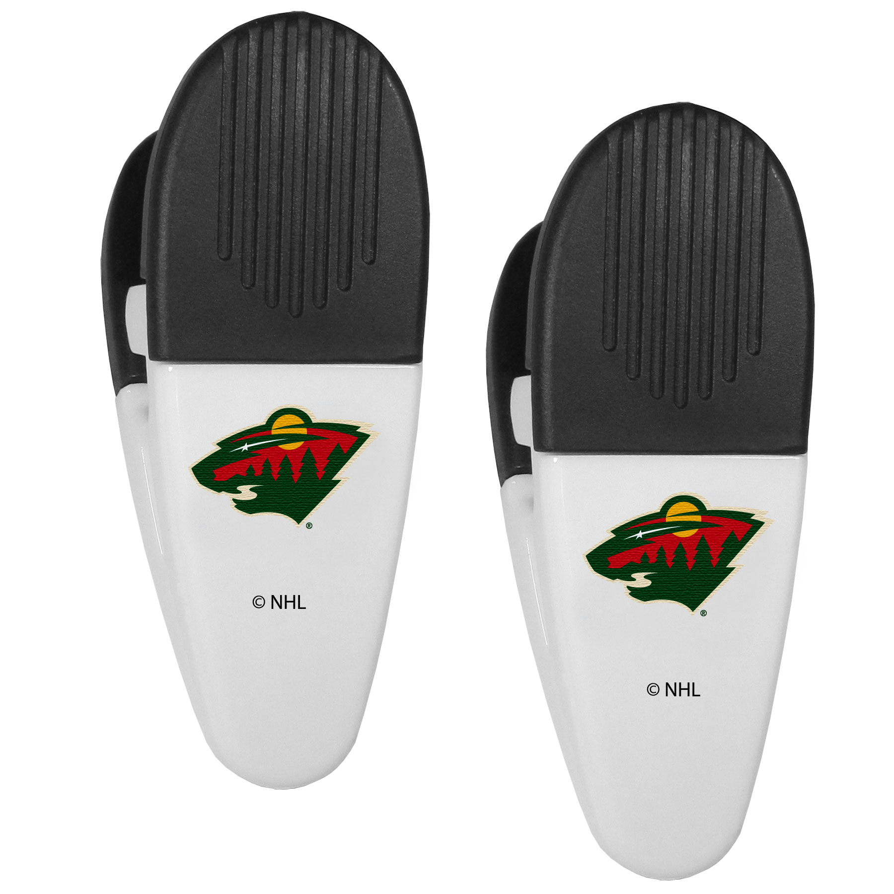 Minnesota Wild® Mini Chip Clip Magnets, 2 pk - Our Minnesota Wild® chip clip magnets feature a crisp team logo on the front of the clip. The clip is perfect for sealing chips for freshness and with the powerful magnet on the back it can be used to attach notes to the fridge or hanging your child's artwork. Set of 2 magnet clips, each clip is 3.5 inches tall and 1.25 inch wide.