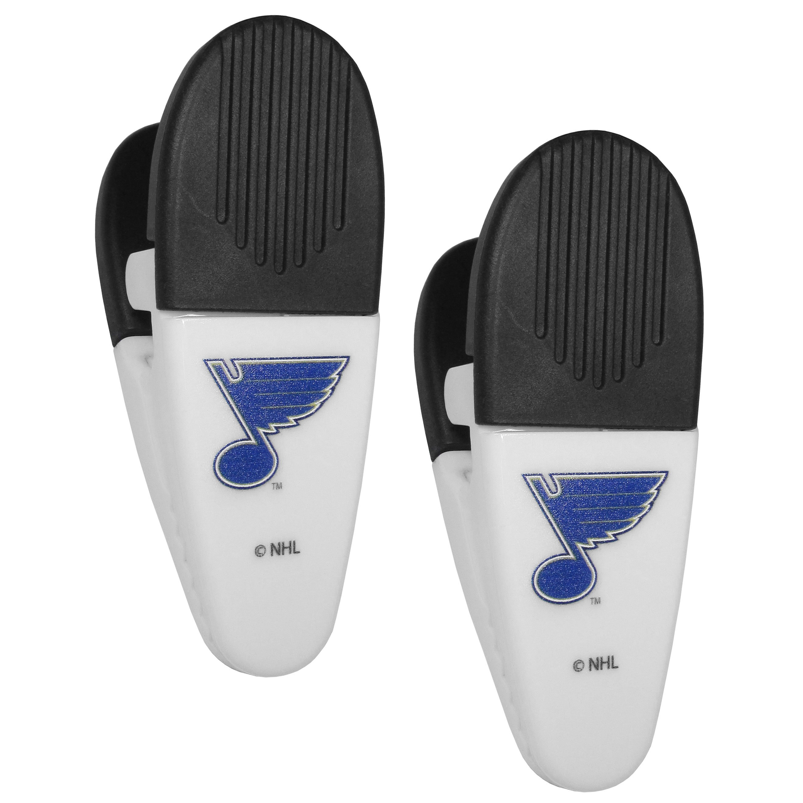 St. Louis Blues® Mini Chip Clip Magnets, 2 pk - Our St. Louis Blues® chip clip magnets feature a crisp team logo on the front of the clip. The clip is perfect for sealing chips for freshness and with the powerful magnet on the back it can be used to attach notes to the fridge or hanging your child's artwork. Set of 2 magnet clips, each clip is 3.5 inches tall and 1.25 inch wide.