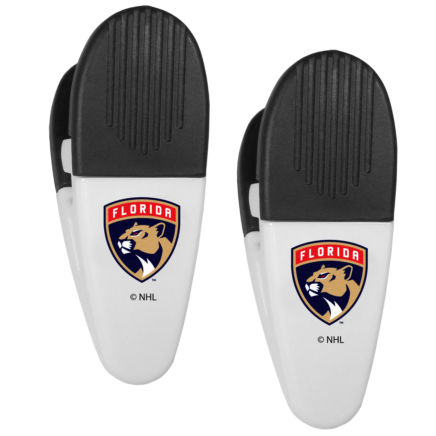 Florida Panthers® Mini Chip Clip Magnets, 2 pk - Our Florida Panthers® chip clip magnets feature a crisp team logo on the front of the clip. The clip is perfect for sealing chips for freshness and with the powerful magnet on the back it can be used to attach notes to the fridge or hanging your child's artwork. Set of 2 magnet clips, each clip is 3.5 inches tall and 1.25 inch wide.