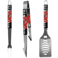 New Jersey Devils® 3 pc Tailgater BBQ Set - Our tailgater BBQ set really catches your eye with flashy chrome accents and vivid New Jersey Devils® digital graphics. The 420 grade stainless steel tools are tough, heavy-duty tools that will last through years of tailgating fun. The set includes a spatula with a bottle opener and sharp serated egde, fork and tongs.
