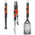 Philadelphia Flyers® 3 pc Tailgater BBQ Set - Our tailgater BBQ set really catches your eye with flashy chrome accents and vivid Philadelphia Flyers® digital graphics. The 420 grade stainless steel tools are tough, heavy-duty tools that will last through years of tailgating fun. The set includes a spatula with a bottle opener and sharp serated egde, fork and tongs.