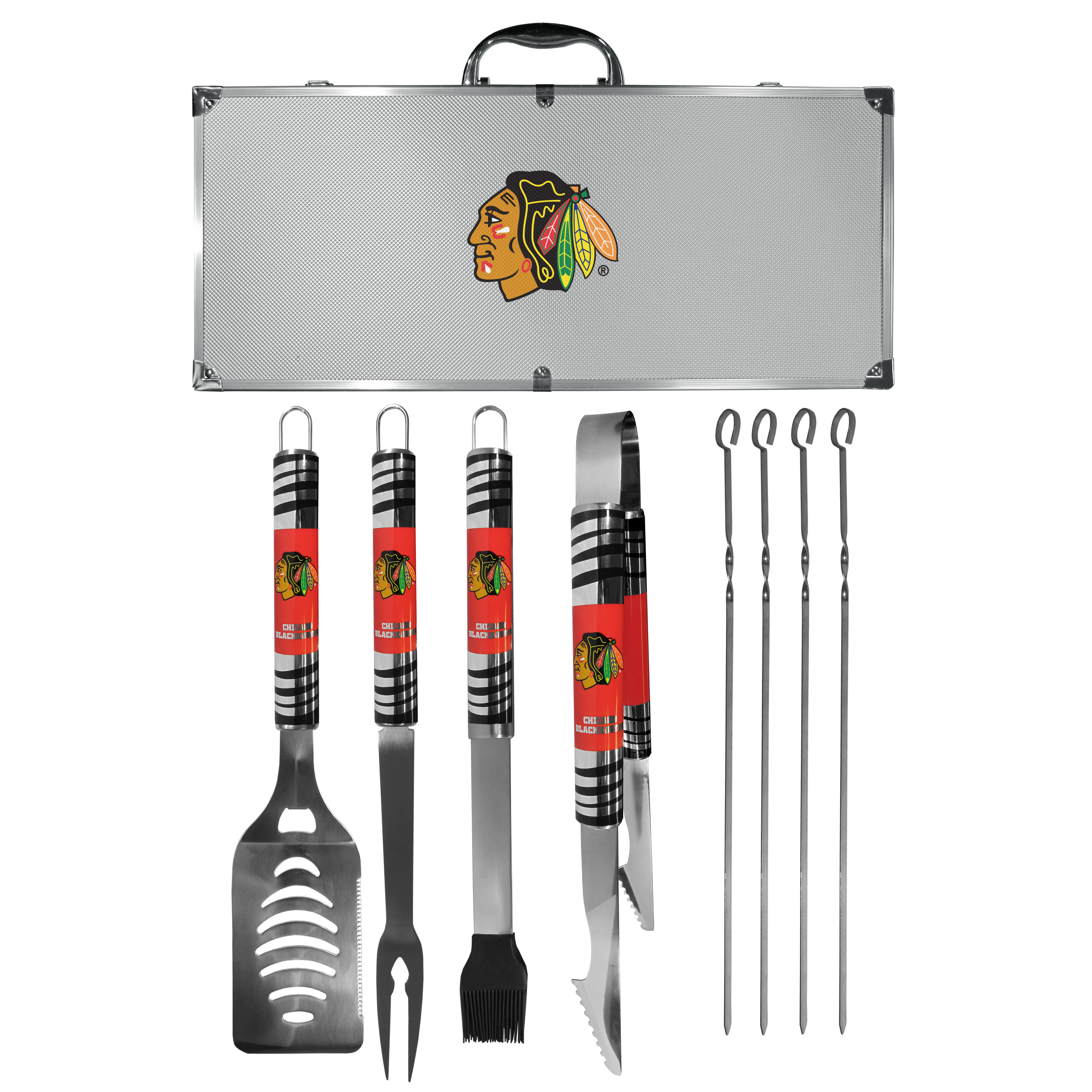 Chicago Blackhawks® 8 pc Tailgater BBQ Set - This is the ultimate Chicago Blackhawks® tailgate accessory! The high quality, 420 grade stainless steel tools are durable and well-made enough to make even the pickiest grill master smile. This complete grill accessory kit includes; 4 skewers, spatula with bottle opener and serrated knife edge, basting brush, tongs and a fork. The 18 inch metal carrying case is perfect for great outdoor use making grilling an ease while camping, tailgating or while having a game day party on your patio. The tools are 17 inches long and feature vivid team graphics. The metal case features a large team emblem with exceptional detail. This high-end men's gift is sure to be a hit as a present on Father's Day or Christmas.