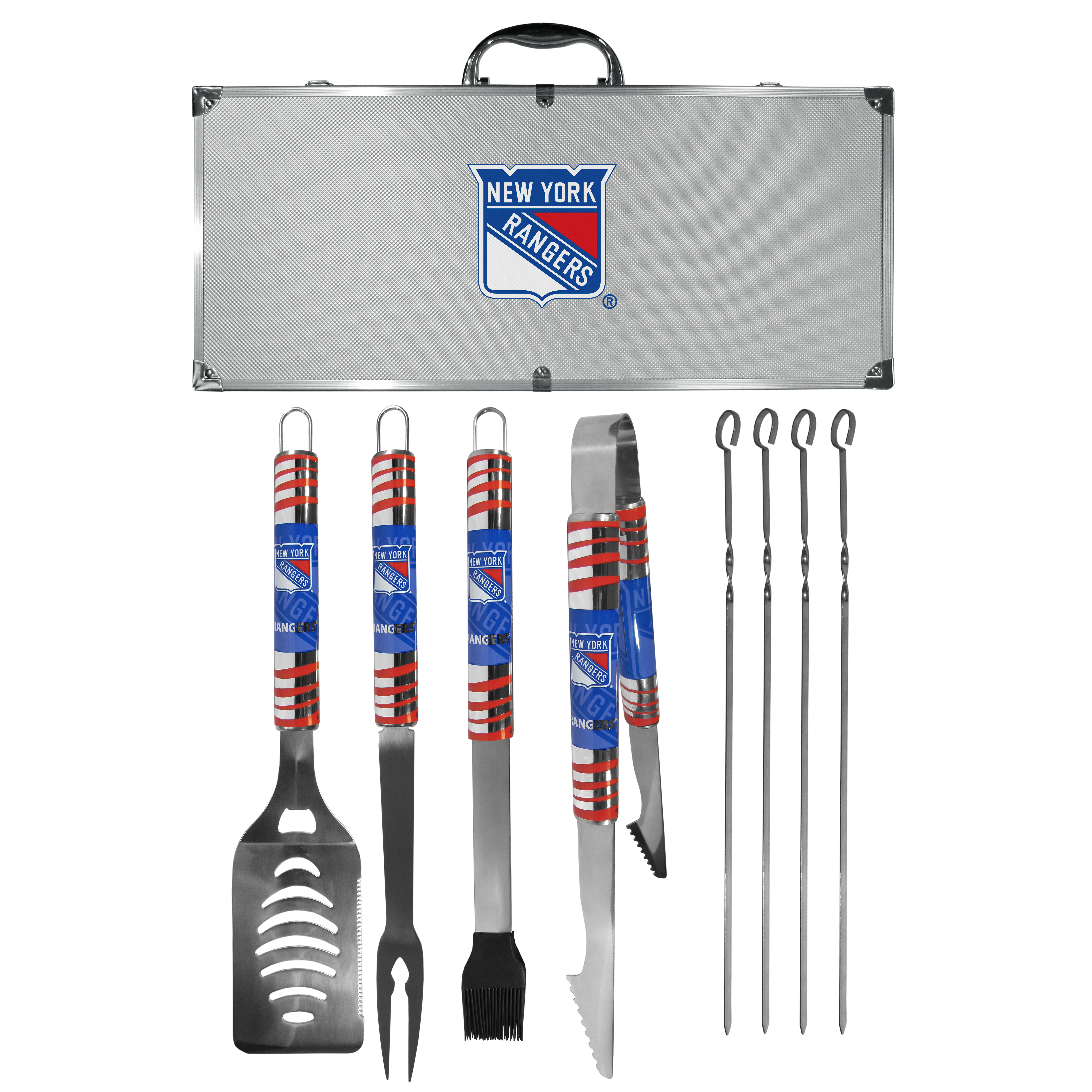 New York Rangers® 8 pc Tailgater BBQ Set - This is the ultimate New York Rangers® tailgate accessory! The high quality, 420 grade stainless steel tools are durable and well-made enough to make even the pickiest grill master smile. This complete grill accessory kit includes; 4 skewers, spatula with bottle opener and serrated knife edge, basting brush, tongs and a fork. The 18 inch metal carrying case is perfect for great outdoor use making grilling an ease while camping, tailgating or while having a game day party on your patio. The tools are 17 inches long and feature vivid team graphics. The metal case features a large team emblem with exceptional detail. This high-end men's gift is sure to be a hit as a present on Father's Day or Christmas.