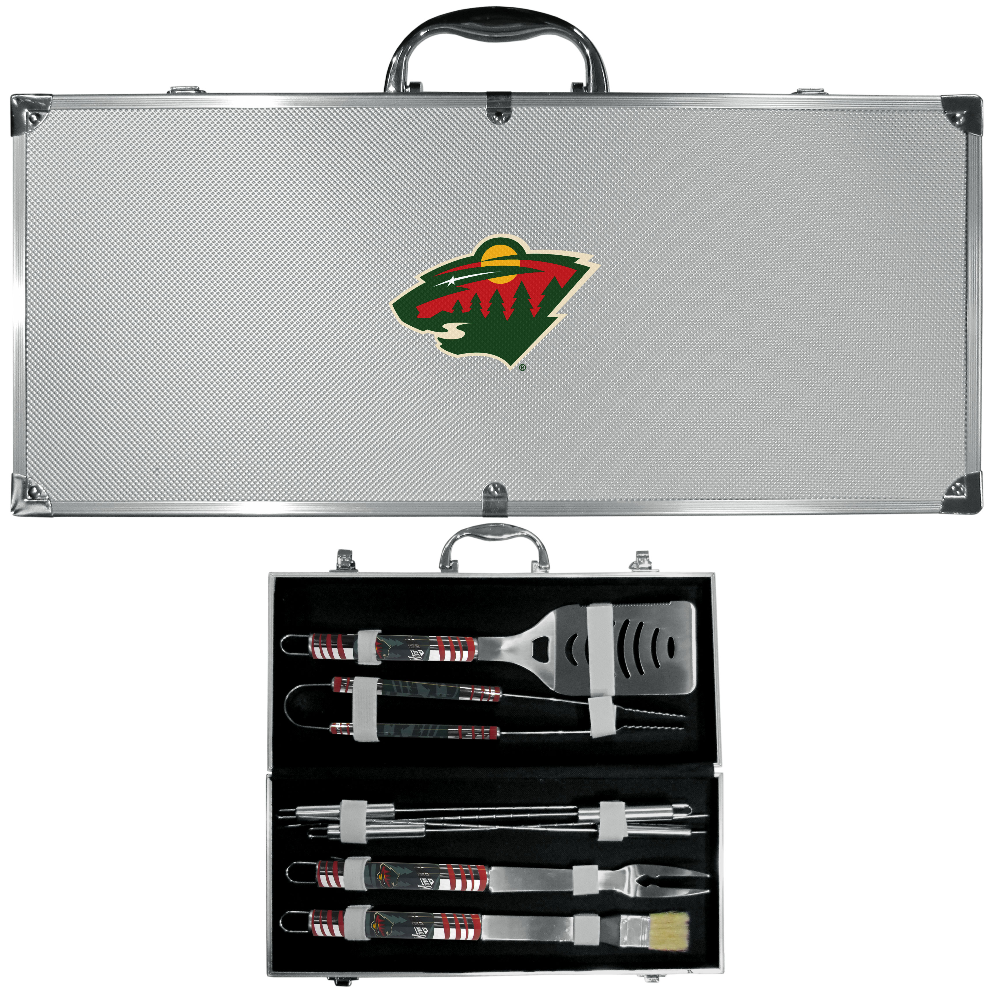 Minnesota Wild® 8 pc Tailgater BBQ Set - This is the ultimate Minnesota Wild® tailgate accessory! The high quality, 420 grade stainless steel tools are durable and well-made enough to make even the pickiest grill master smile. This complete grill accessory kit includes; 4 skewers, spatula with bottle opener and serrated knife edge, basting brush, tongs and a fork. The 18 inch metal carrying case is perfect for great outdoor use making grilling an ease while camping, tailgating or while having a game day party on your patio. The tools are 17 inches long and feature vivid team graphics. The metal case features a large team emblem with exceptional detail. This high-end men's gift is sure to be a hit as a present on Father's Day or Christmas.