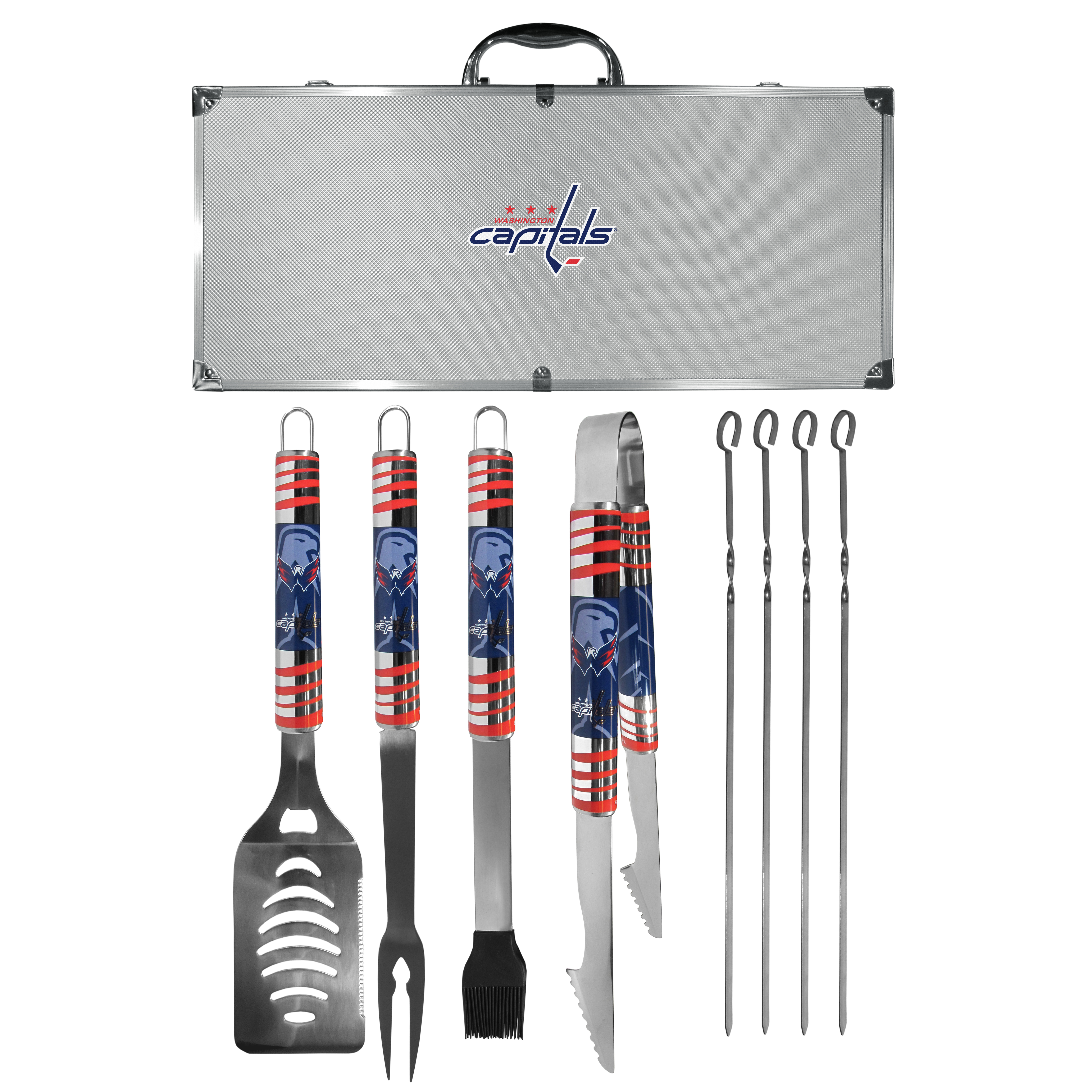 Washington Capitals® 8 pc Tailgater BBQ Set - This is the ultimate Washington Capitals® tailgate accessory! The high quality, 420 grade stainless steel tools are durable and well-made enough to make even the pickiest grill master smile. This complete grill accessory kit includes; 4 skewers, spatula with bottle opener and serrated knife edge, basting brush, tongs and a fork. The 18 inch metal carrying case is perfect for great outdoor use making grilling an ease while camping, tailgating or while having a game day party on your patio. The tools are 17 inches long and feature vivid team graphics. The metal case features a large team emblem with exceptional detail. This high-end men's gift is sure to be a hit as a present on Father's Day or Christmas.