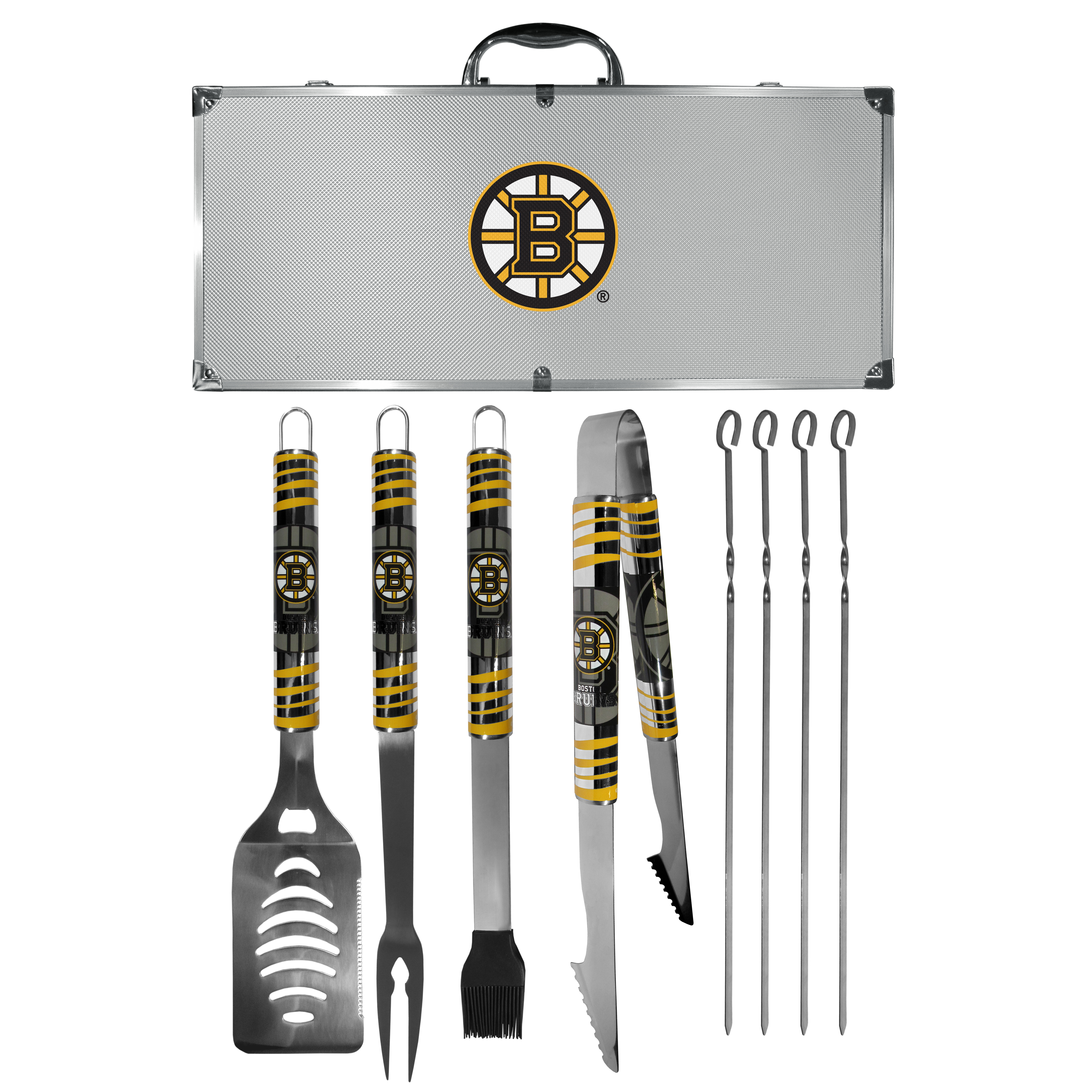 Boston Bruins® 8 pc Tailgater BBQ Set - This is the ultimate Boston Bruins® tailgate accessory! The high quality, 420 grade stainless steel tools are durable and well-made enough to make even the pickiest grill master smile. This complete grill accessory kit includes; 4 skewers, spatula with bottle opener and serrated knife edge, basting brush, tongs and a fork. The 18 inch metal carrying case is perfect for great outdoor use making grilling an ease while camping, tailgating or while having a game day party on your patio. The tools are 17 inches long and feature vivid team graphics. The metal case features a large team emblem with exceptional detail. This high-end men's gift is sure to be a hit as a present on Father's Day or Christmas.