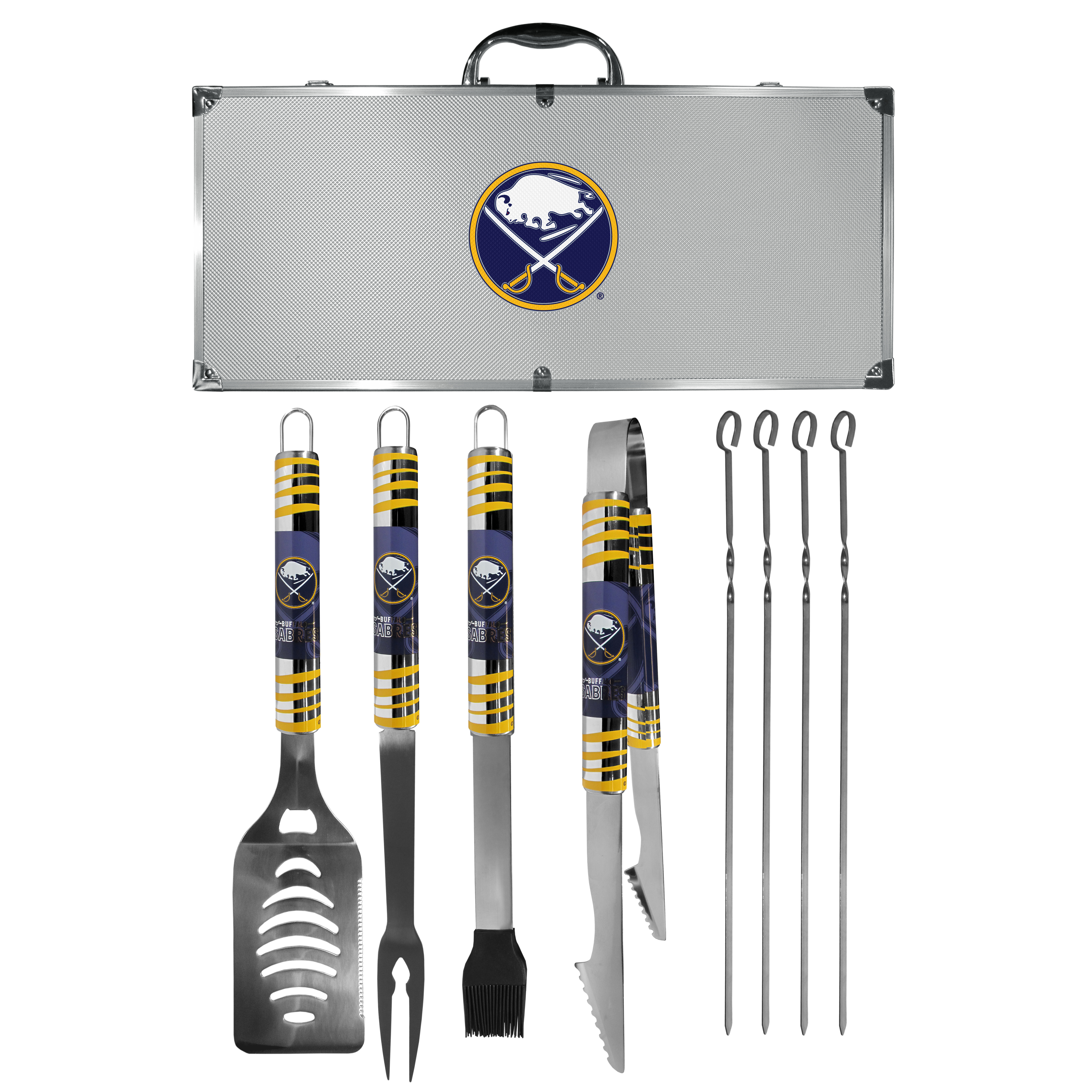 Buffalo Sabres® 8 pc Tailgater BBQ Set - This is the ultimate Buffalo Sabres® tailgate accessory! The high quality, 420 grade stainless steel tools are durable and well-made enough to make even the pickiest grill master smile. This complete grill accessory kit includes; 4 skewers, spatula with bottle opener and serrated knife edge, basting brush, tongs and a fork. The 18 inch metal carrying case is perfect for great outdoor use making grilling an ease while camping, tailgating or while having a game day party on your patio. The tools are 17 inches long and feature vivid team graphics. The metal case features a large team emblem with exceptional detail. This high-end men's gift is sure to be a hit as a present on Father's Day or Christmas.