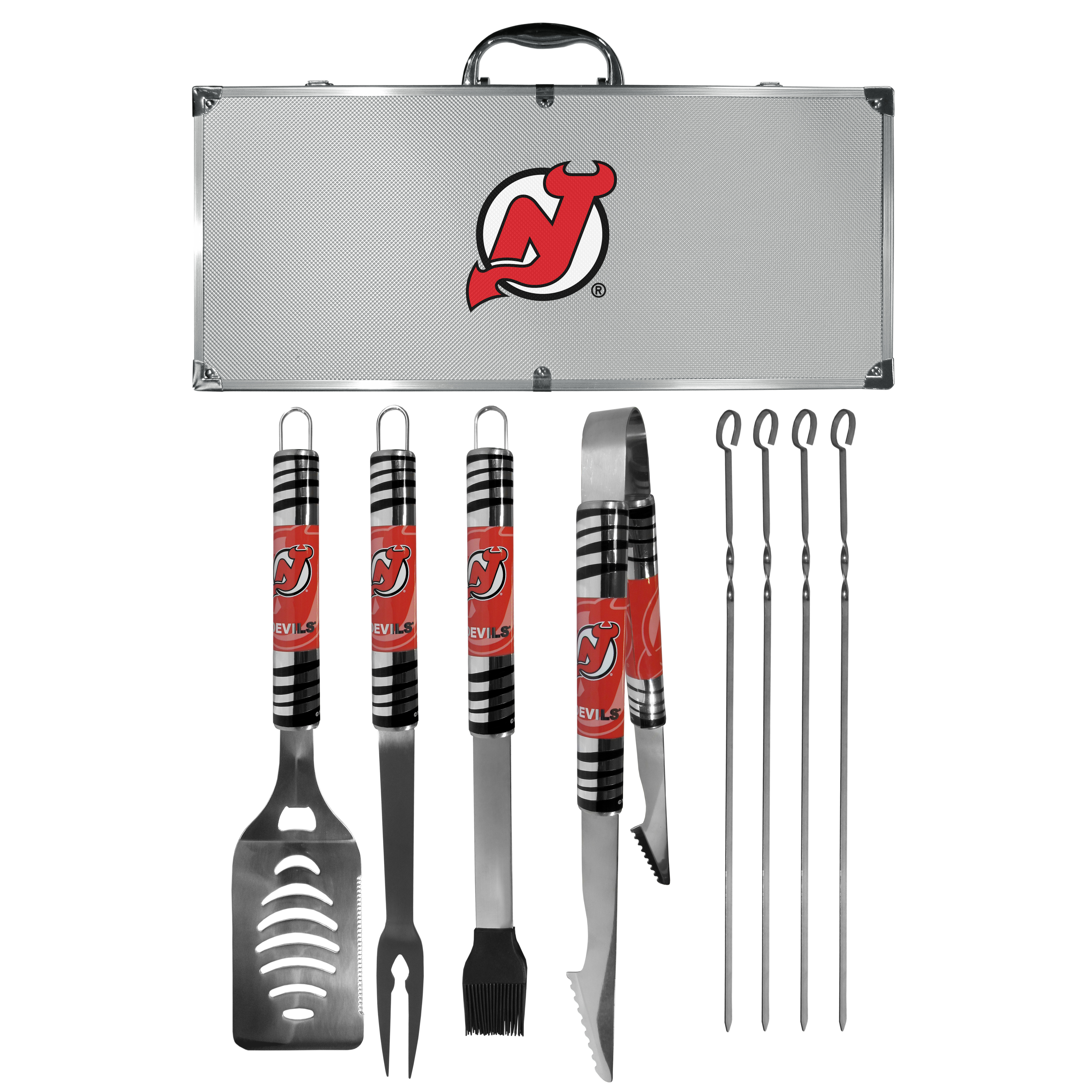 New Jersey Devils® 8 pc Tailgater BBQ Set - This is the ultimate New Jersey Devils® tailgate accessory! The high quality, 420 grade stainless steel tools are durable and well-made enough to make even the pickiest grill master smile. This complete grill accessory kit includes; 4 skewers, spatula with bottle opener and serrated knife edge, basting brush, tongs and a fork. The 18 inch metal carrying case is perfect for great outdoor use making grilling an ease while camping, tailgating or while having a game day party on your patio. The tools are 17 inches long and feature vivid team graphics. The metal case features a large team emblem with exceptional detail. This high-end men's gift is sure to be a hit as a present on Father's Day or Christmas.
