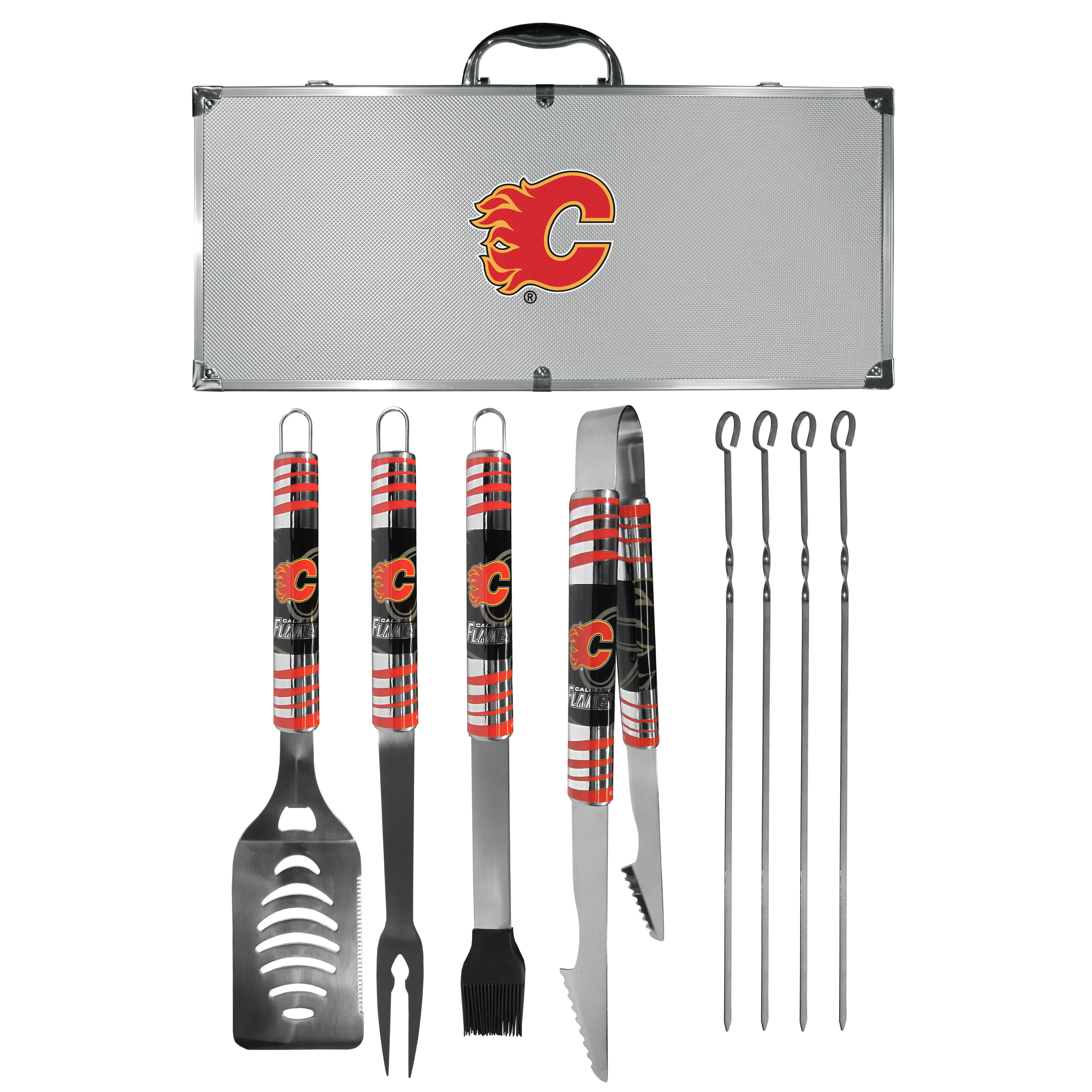 Calgary Flames® 8 pc Tailgater BBQ Set - This is the ultimate Calgary Flames® tailgate accessory! The high quality, 420 grade stainless steel tools are durable and well-made enough to make even the pickiest grill master smile. This complete grill accessory kit includes; 4 skewers, spatula with bottle opener and serrated knife edge, basting brush, tongs and a fork. The 18 inch metal carrying case is perfect for great outdoor use making grilling an ease while camping, tailgating or while having a game day party on your patio. The tools are 17 inches long and feature vivid team graphics. The metal case features a large team emblem with exceptional detail. This high-end men's gift is sure to be a hit as a present on Father's Day or Christmas.