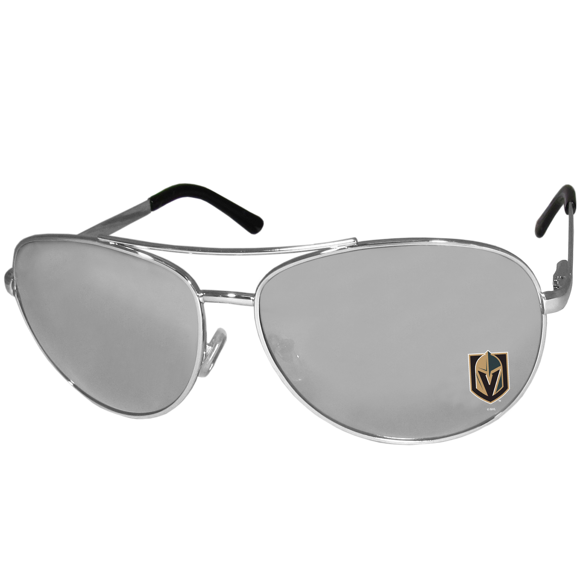Vegas Golden Knights® Aviator Sunglasses - Our aviator sunglasses have the iconic aviator style with mirrored lenses and metal frames. The glasses feature a silk screened Vegas Golden Knights® logo in the corner of the lense. 100% UVA/UVB protection.