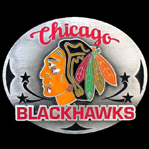 NHL Belt Buckle - Chicago Blackhawks  - This Chicago Blackhawks finely sculpted and enameled Chicago Blackhawks belt buckle contains exceptional 3D detailing. Siskiyou's unique Chicago Blackhawks buckle designs often become collector's items and are unequaled in craftsmanship. Check out our entire stock of  NHL Chicago Blackhawks merchandise! Thank you for visiting CrazedOutSports
