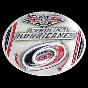 NHL Belt Buckle - Carolina Hurricanes - This Carolina Hurricanes finely sculpted and enameled Carolina Hurricanes belt buckle contains exceptional 3D detailing. Siskiyou's unique Carolina Hurricanes buckle designs often become collector's items and are unequaled in craftsmanship. Check out our entire stock of  NHL Carolina Hurricanes merchandise! Thank you for visiting CrazedOutSports