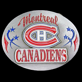 NHL Belt Buckle - Montreal Canadians  - This Montreal Canadiens finely sculpted and enameled Montreal Canadiens belt buckle contains exceptional 3D detailing. Siskiyou's unique Montreal Canadiens buckle designs often become collector's items and are unequaled in craftsmanship. Check out our entire stock of  NHL Montreal Canadiens merchandise!