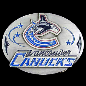 NHL Belt Buckle - Vancouver Canucks   - This finely sculpted and enameled NHL belt buckle contains exceptional 3D detailing. Siskiyou's unique buckle designs often become collector's items and are unequaled in craftsmanship. Check out our entire stock of  NHL merchandise!